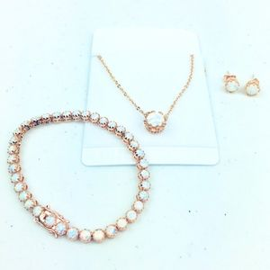 Fire Opal Crown Jewelry Set 18K Rose Gold Plating